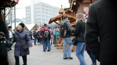 People visiting the xmas fair at alexanderplatz in berlin (germany) Stock Footage