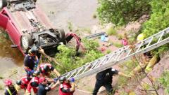 Car falls into river - stock footage
