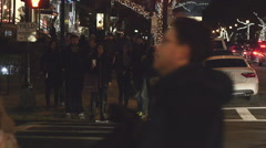 Pedestrians Waiting on Curb in Boston Stock Footage