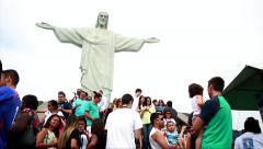 Tourists on the Corcovado Hill in Rio de Janeiro, Brazil. Stock Footage