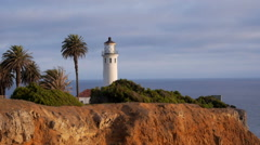 Lighthouse, Palm Trees on Pt. Vicente MS Stock Footage