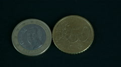 Stock Video Footage of two 50 cent spain euro coin front and back detail