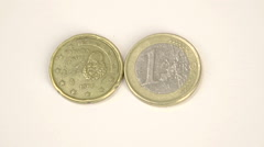 1999 version of a 1 spain euro coin Stock Footage