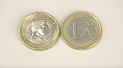 Two latvian euro coins presented on the table Stock Footage