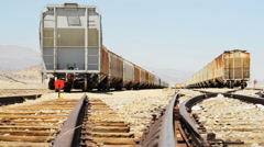 Motion Control Dolly Shot of Desert Railroad Track and Old Train -Dolly Right- Stock Footage