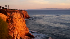 Lighthouse ELS on Pt. Vicente's Red Cliffs, Calalina Is. BG - stock footage