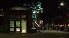 Boston Subway Entrance at Night Stock Footage