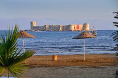 Historical castle on the sea in Mersin, Turkey - stock photo
