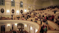 Audience in the Great Hall of the Moscow Conservatory before a symphony concert. Stock Footage