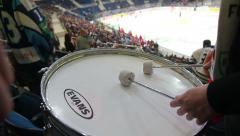 Drum on ice hockey game Stock Footage