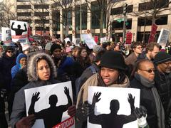 Al Sharpton's rally and march for Michael Brown, Eric Garner and Tamir Rice Stock Photos