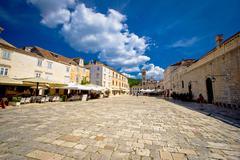 Central pjaca square of hvar town Stock Photos