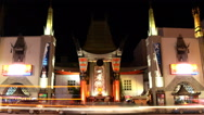 Stock Video Footage of Time Lapse of Chinese Theater in Hollywood at Night -Zoom Out-