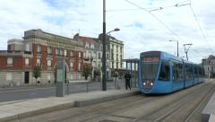 An electric tram in Reims, Champagne-Ardenne, France. Stock Footage