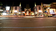 Stock Video Footage of 4K Time Lapse of Chinese Theater in Hollywood at Night -Tilt Up-
