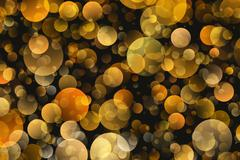 warm round shapes in chaotic arrangement. bokeh backgrounds - stock illustration