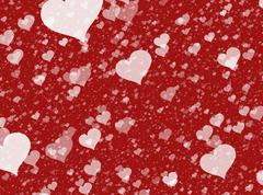 flying white transparent hearts on red backgrounds. love texture - stock illustration