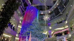 One side of shopping mall with christmas light was decorated full of building Stock Footage