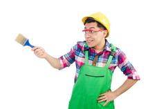 Funny painter isolated on white Stock Photos
