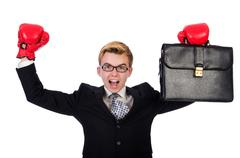 Young businessman boxer isolated on white Stock Photos