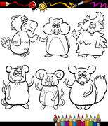 Stock Illustration of cute pets cartoon coloring book