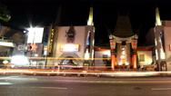 Stock Video Footage of 4K Time Lapse of Chinese Theater in Hollywood at Night -Pan Right-