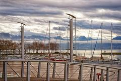 quay of geneva lake and motblanc view  in losanne - stock photo