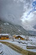 small village in swiss alps - stock photo