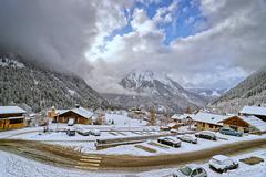 small french alpine village - stock photo