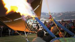 Pilot of hot air balloon Stock Footage