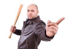 Violent man with baseball bat on white Stock Photos
