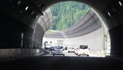 Driving To Exit Of Japanese Highway Tunnel 4K Stock Footage