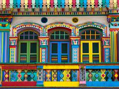 Colorful Facade of Famous Building in Little India, Singapore Stock Photos