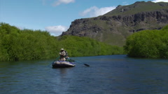 Argentina Fly Fishing - Anglers fishing from raft Chubut 30 Stock Footage