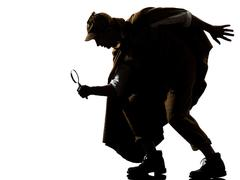 sherlock holmes silhouette - stock photo