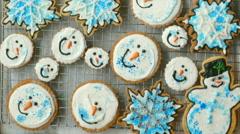 Three Big Trays of Fresh-Baked Christmas Cookies Stock Footage