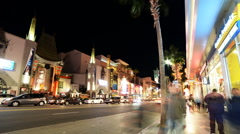 Hyperlapse of Hollywood Walk of Fame at Night -Tilt Down- Stock Footage