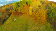 Aerial Flyover: A New England Field in the Fall Stock Footage
