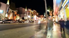 Hyperlapse of Hollywood Walk of Fame at Night -Zoom In- - stock footage