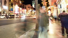 Stock Video Footage of Hyperlapse of Hollywood Walk of Fame at Night -Zoom Out-