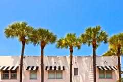 Beautiful historic buildings in  miami in the art deco district Stock Photos