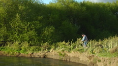 Argentina Fly Fishing - Angler Casts on Rio Chubut 72 Stock Footage