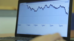 A young businessman working  with a stock computer screens front of him. - stock footage