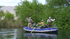 Argentina Fly Fishing - Anglers in Raft 83 Stock Footage