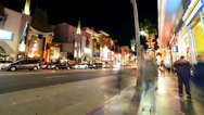 Stock Video Footage of 4K Hyperlapse of Hollywood Walk of Fame at Night -Tilt Up-