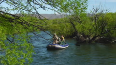 Argentina Fly Fishing - Anglers in Raft 122 Stock Footage