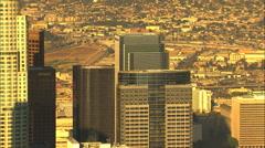 Aerial USA Los Angeles Skyscraper city buildings downtown - stock footage