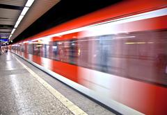 Train arriving in the station Stock Photos
