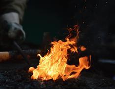 Blacksmith furnace - stock photo