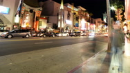 Stock Video Footage of 4K Hyperlapse of Hollywood Walk of Fame at Night -Pan Right-